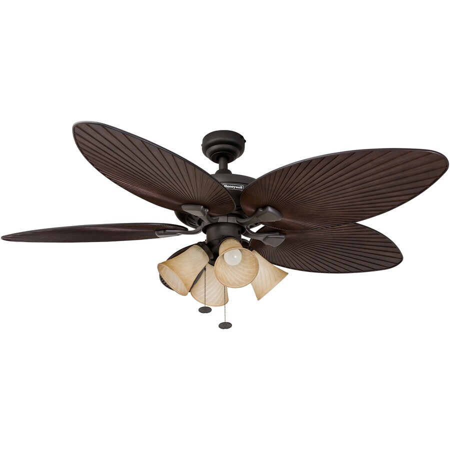 honeywell palm island 52 in oil rubbed bronze indoor outdoor ceiling fan with light 5 blade