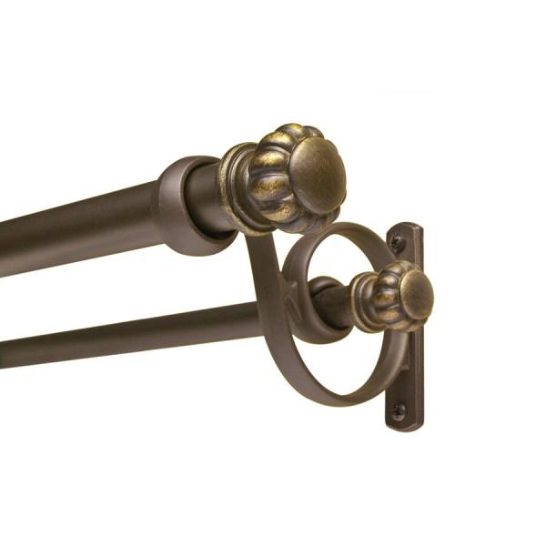 Allen Roth 72-in 144-in Dark-brass Double Curtain Rod