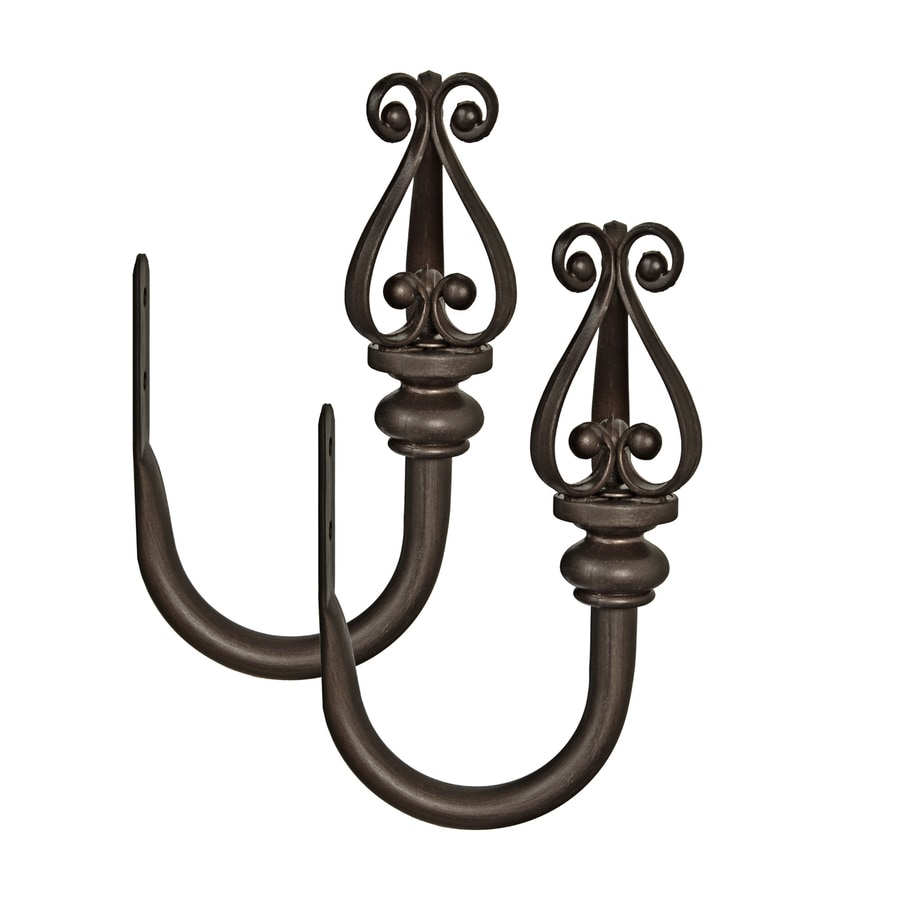style selections 2 pack 5 in aged bronze curtain holdbacks in the curtain tiebacks holdbacks department at lowes com