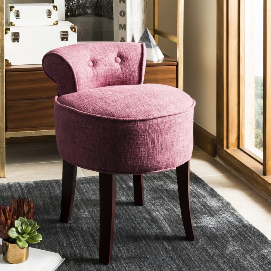 pink vanity chair farmhouse christmas covers safavieh 22 8 in h round makeup stool at lowes com