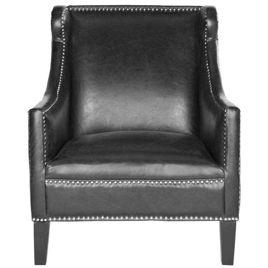 Black Accent Chairs Safavieh Mckinley Casual Black Faux Leather Accent Chair At Lowes