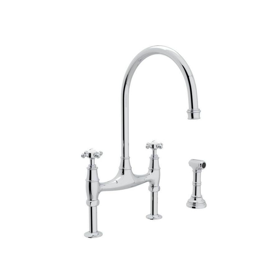 rohl perrin and rowe polished chrome 2 handle deck mount bridge handle kitchen faucet