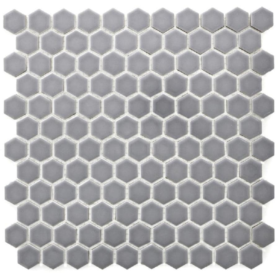 glossy porcelain hexagon tile