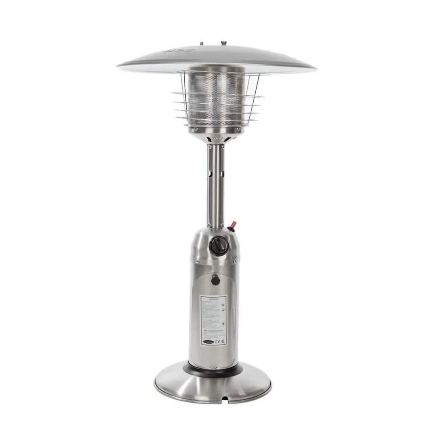 fire sense 10000 btu silver stainless steel tabletop liquid propane patio heater