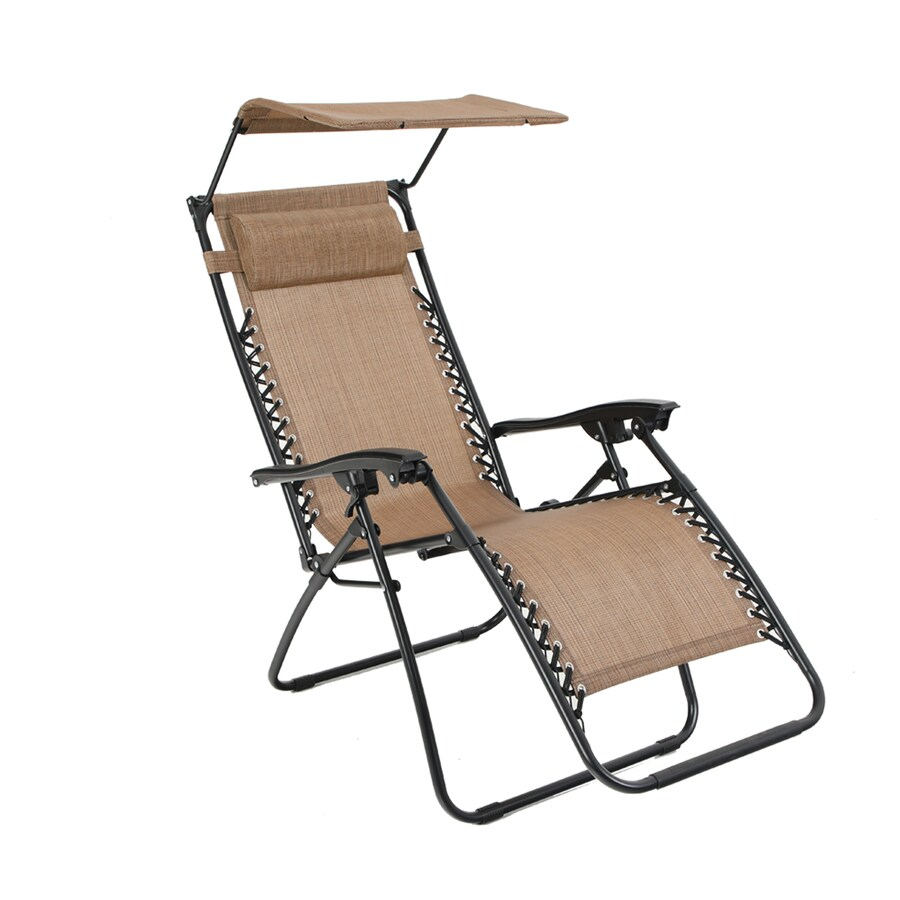 style selections brown metal frame stationary zero gravity chair s with brown sling seat
