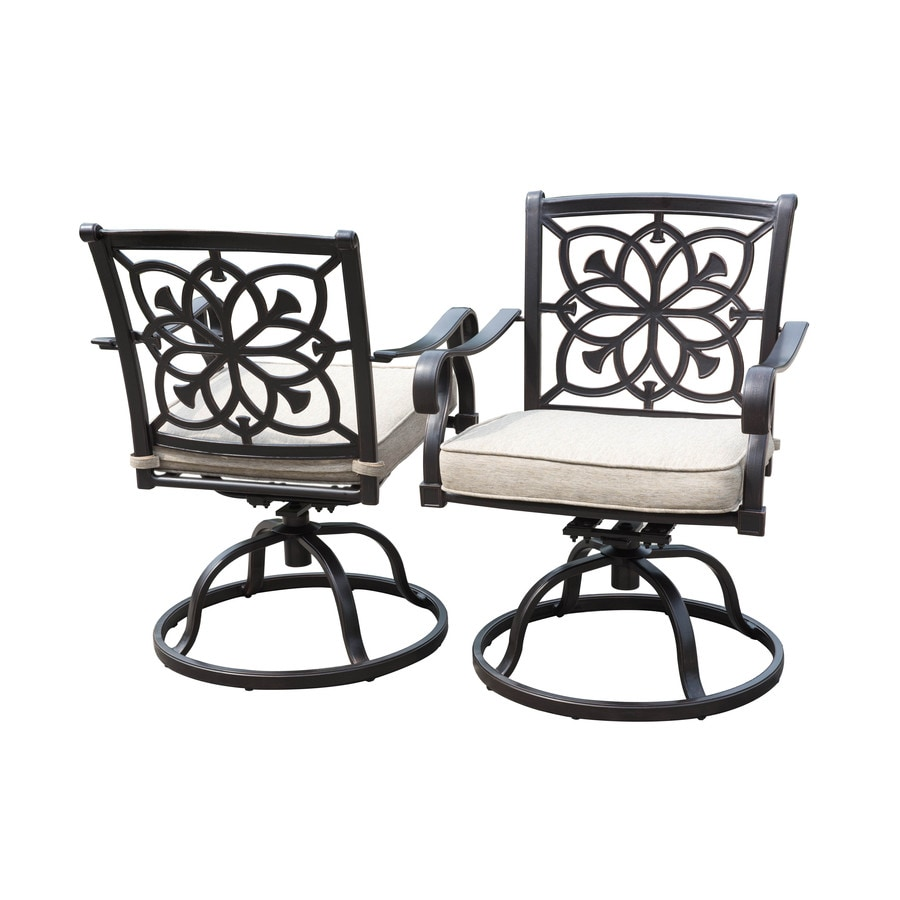 swivel rocker outdoor dining chairs chair exercises for obese allen roth ebervale set of 2 aluminum patio with solartex cushions
