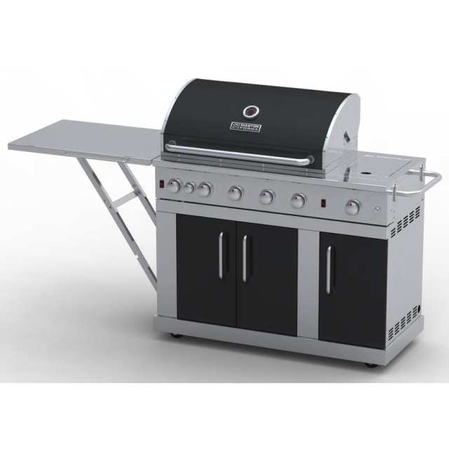 master forge outdoor grill silver with black hood and door 5-burner