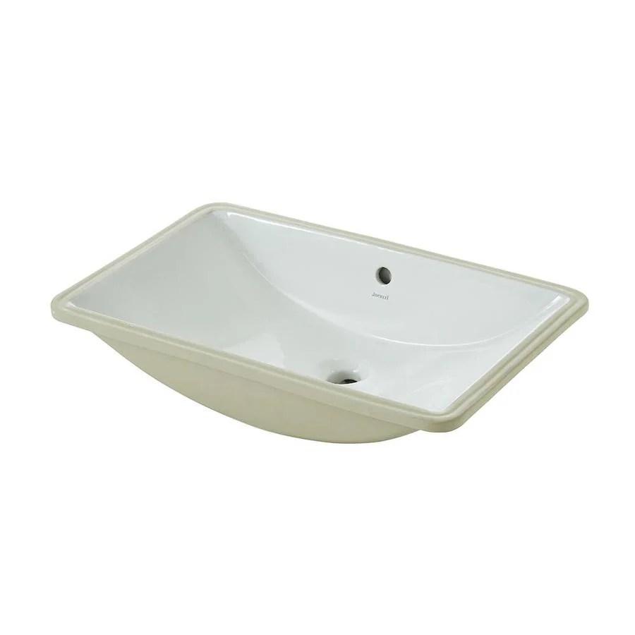 Jacuzzi Mika White Undermount Rectangular Bathroom Sink