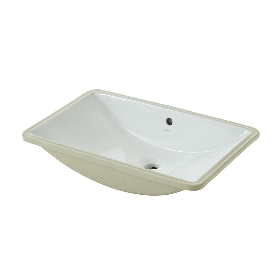 jacuzzi mika white undermount rectangular bathroom sink with overflow drain 23 62 in x 14 8 in lowes com
