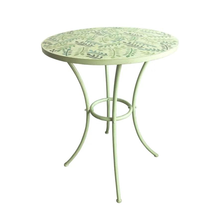 garden treasures shadyside tile top antique white round patio dining table