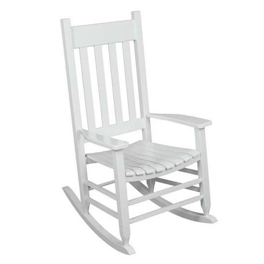 style selections white wood frame rocking chair s with slat seat