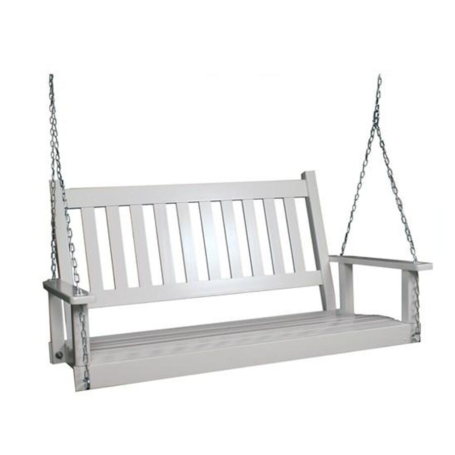 style selections 2 person white wood outdoor swing lowes com