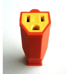 project source 15 amp volt orange 3 wire grounding connector [ 900 x 900 Pixel ]