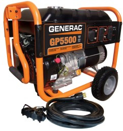 generac gp 5500 running watt portable generator with generac engine [ 900 x 900 Pixel ]