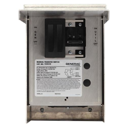 small resolution of generac 30 amp single circuit manual transfer switch