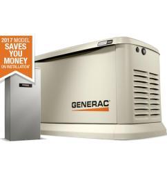 generac guardian 22 000 watt lp 19 500 watt ng standby generator with automatic transfer switch [ 900 x 900 Pixel ]