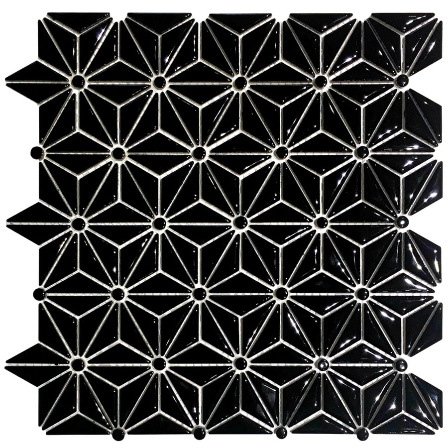 epoch architectural surfaces geometric star black 12 in x 12 in glazed ceramic uniform diamonds tile