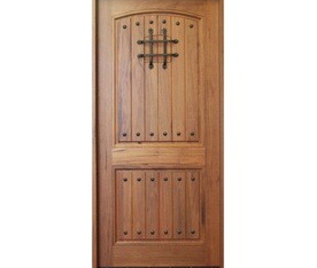 Escon Rustica Right Hand Inswing Medium Walnut With Satin Stained Wood Entry Door Solid Hardwood