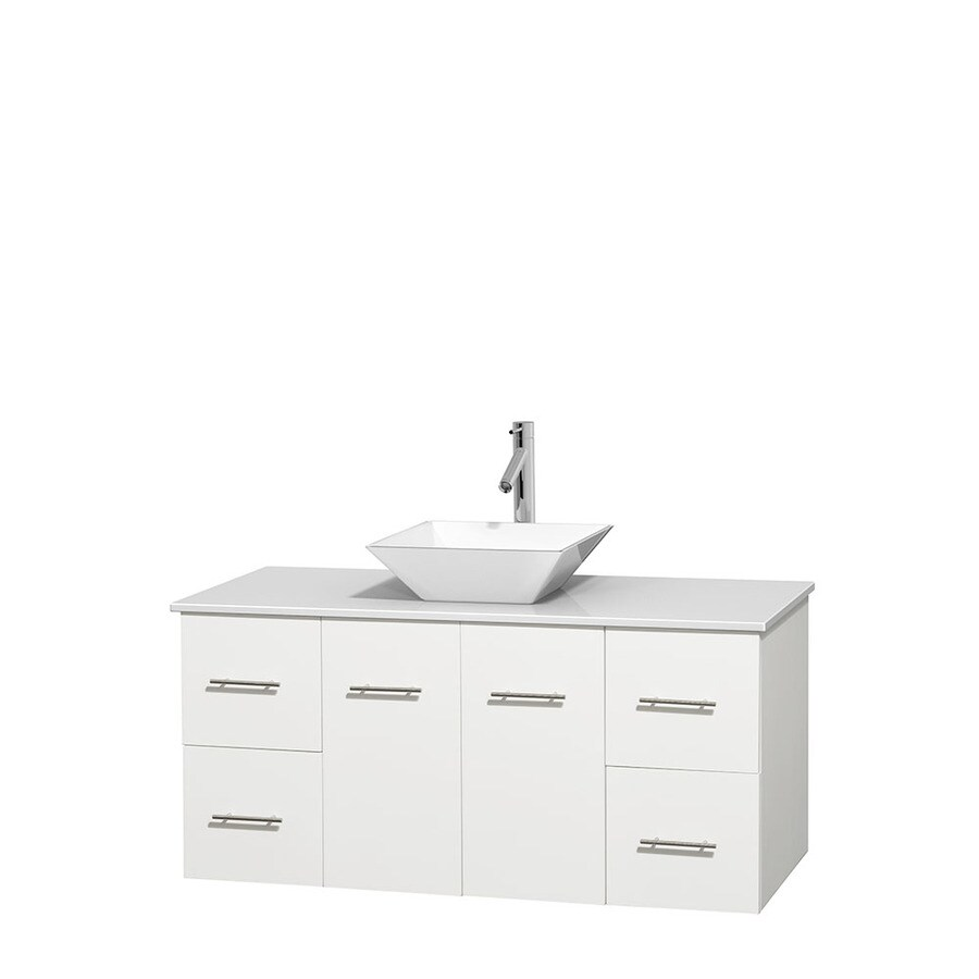 wyndham collection centra white single vessel sink bathroom vanity with engineered stone top common 48 in x 21 5 in actual 48 in x 21 5 in in the bathroom vanities with tops department at lowes com