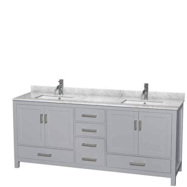 gray double sink bathroom vanity Shop Wyndham Collection Sheffield Gray Undermount Double Sink Bathroom Vanity with Natural