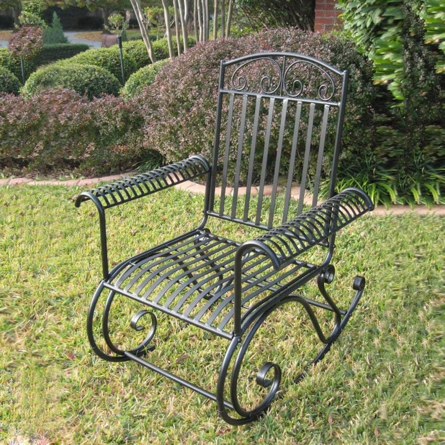wrought iron rocking chair 4 seater outdoor table and chairs international caravan mandalay with strap