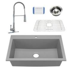 Gray Kitchen Sink Table With Storage Cabinets Granite Sinks At Lowes Com Sinkology Camille 33 In X 22 Matte Graphite Single Basin Drop
