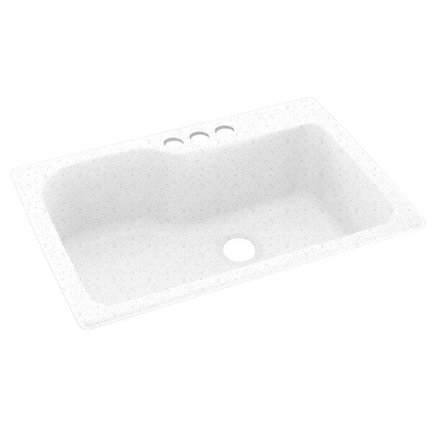 swan drop in 33 in x 22 in arctic granite single bowl 3 hole kitchen sink in the kitchen sinks department at lowes com