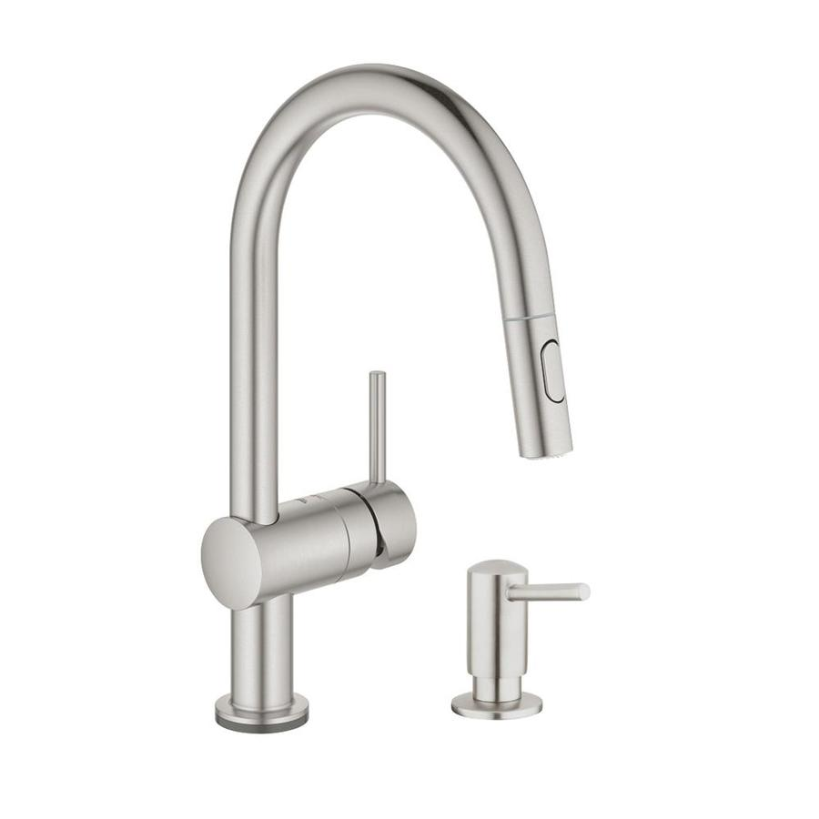 grohe minta supersteel 1 handle deck mount pull out touch kitchen faucet
