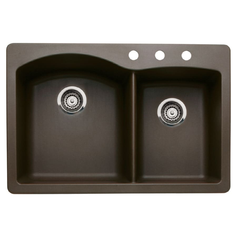 33 x 22 kitchen sink black cabinets shop blanco diamond 22-in 33-in cafe brown double-basin ...