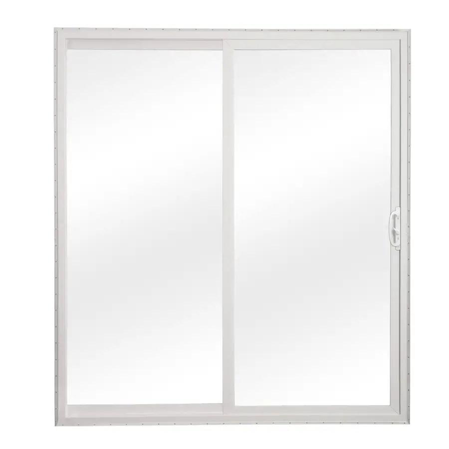 reliabilt 60 in x 80 in clear glass white vinyl universal reversible double door sliding patio door lowes com