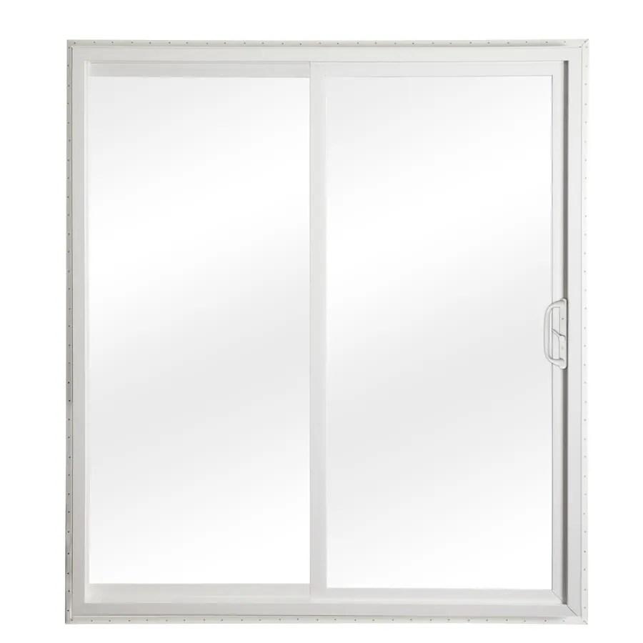 reliabilt 72 in x 80 in clear glass white vinyl universal reversible double door sliding patio door in the patio doors department at lowes com