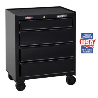 CRAFTSMAN 1000 Series 26.5-in W x 32.5-in H 4-Drawer Steel Rolling Tool Cabinet (Black)