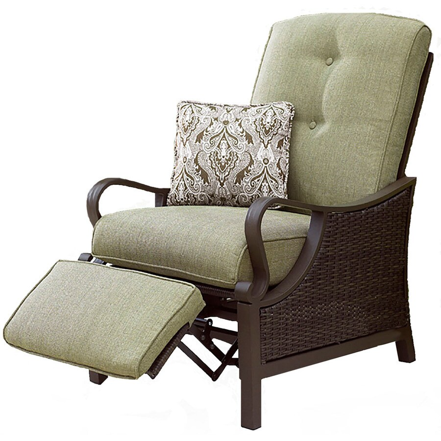 hanover ventura wicker brown metal frame stationary recliner chair s with green hanover cushioned seat