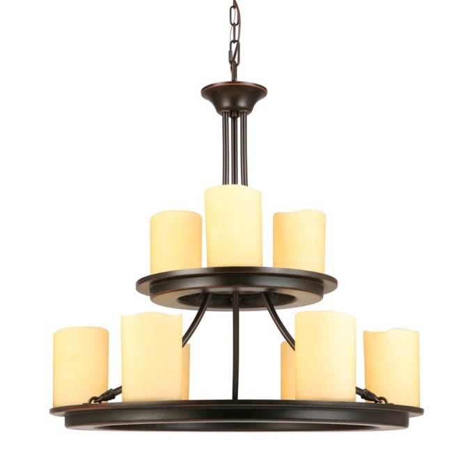 Allen Roth Harpwell 25 In 9 Light Oil Rubbed Bronze Mediterranean Tinted