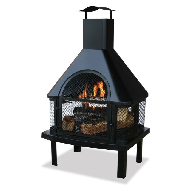 black steel outdoor wood-burning fireplace at lowes