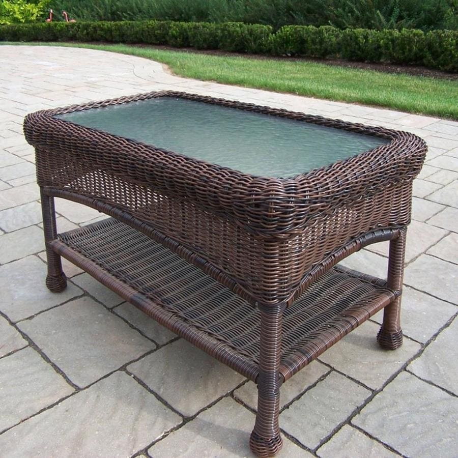oakland living resin wicker rectangle wicker outdoor coffee table 17 5 in w x 29 in l with