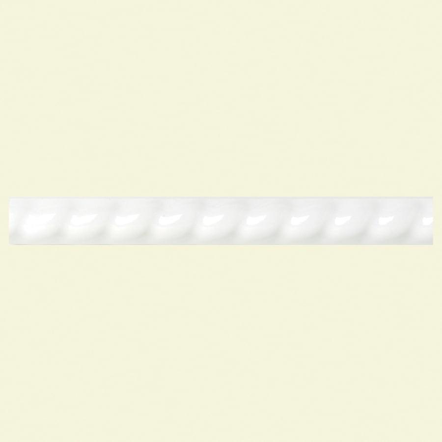 american olean starting line white gloss ceramic pencil liner tile 1 2 in x 6 in