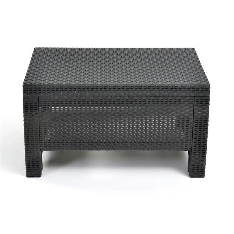 keter corfu rectangle rattan outdoor coffee table 22 4 in w x 30 3 in l
