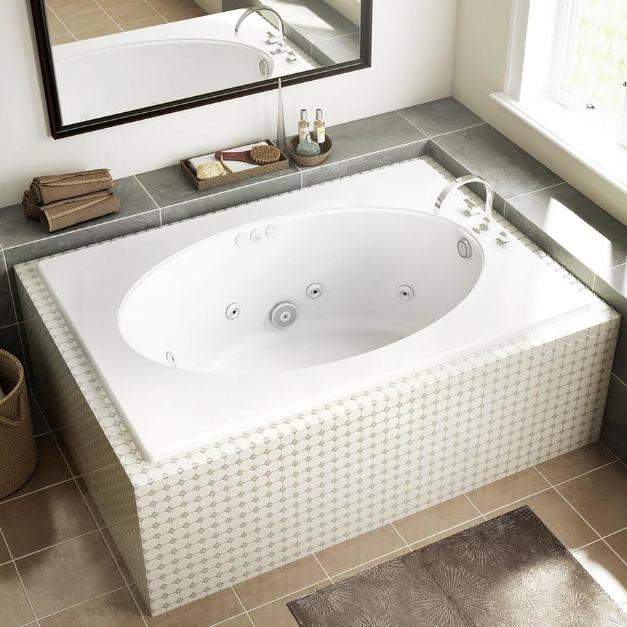 Jacuzzi Primo 42 In W X 60 In L White Acrylic Oval In Rectangle Reversible Drain Drop In Whirlpool Tub In The Bathtubs Department At Lowes Com