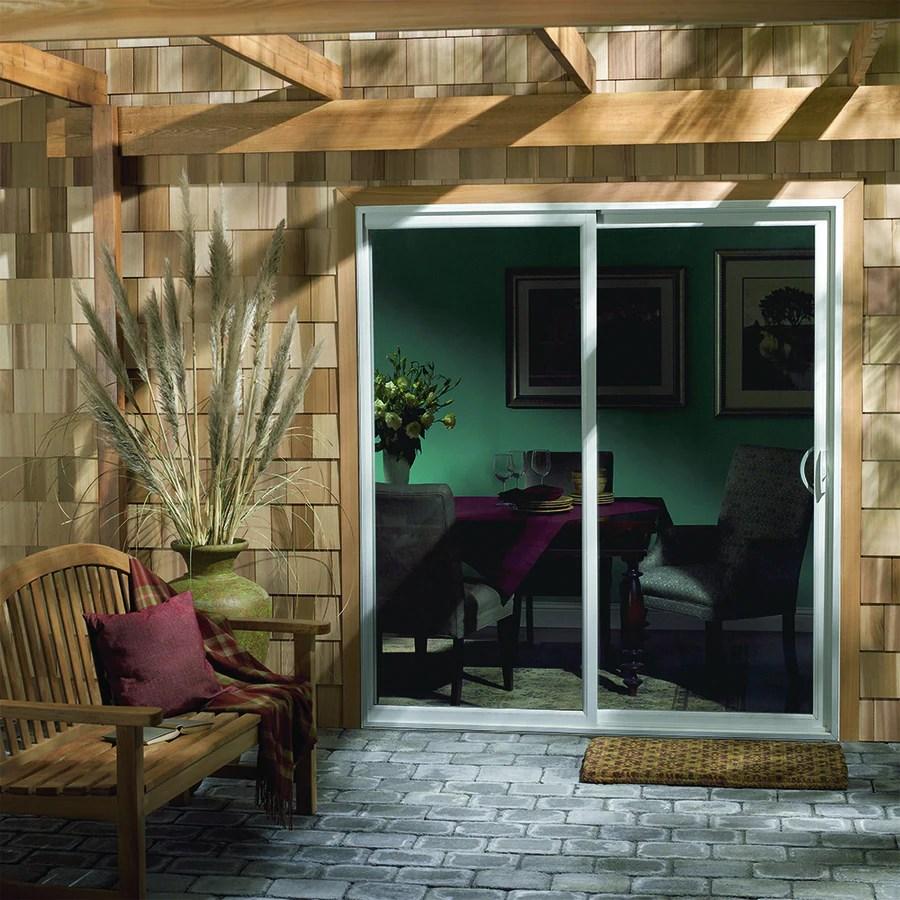 jeld wen 71 5 in 1 lite glass white vinyl sliding patio door with screen