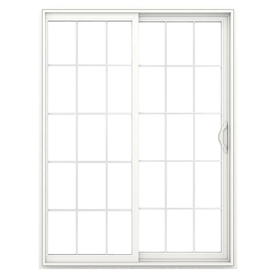 Shop JELDWEN Grilles Between The Glass White Vinyl Sliding Patio Door With Insulating Core and