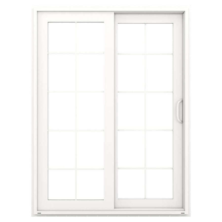 Shop JELDWEN 595in x 795in Simulated Divided Light RightHand White Vinyl Sliding Patio