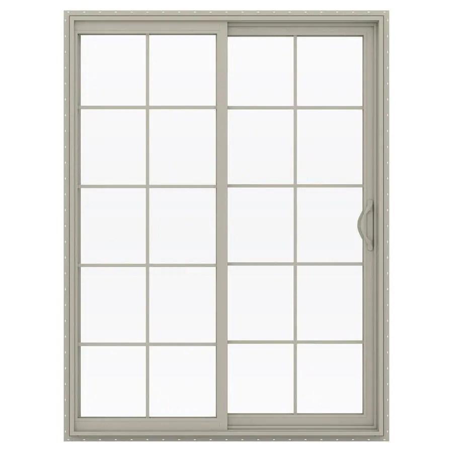 jeld wen 60 in x 80 in grilles between the glass desert sand vinyl right hand double door sliding patio door with screen
