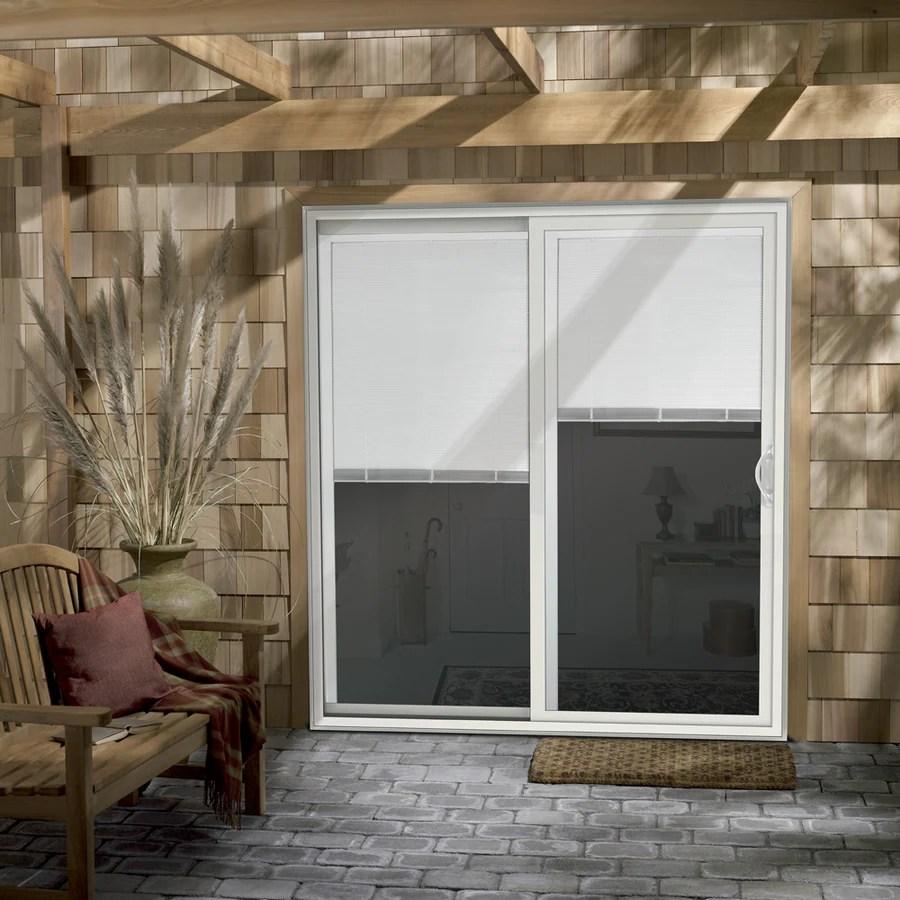 jeld wen 72 in x 80 in blinds between the glass white vinyl right hand double door sliding patio door with screen