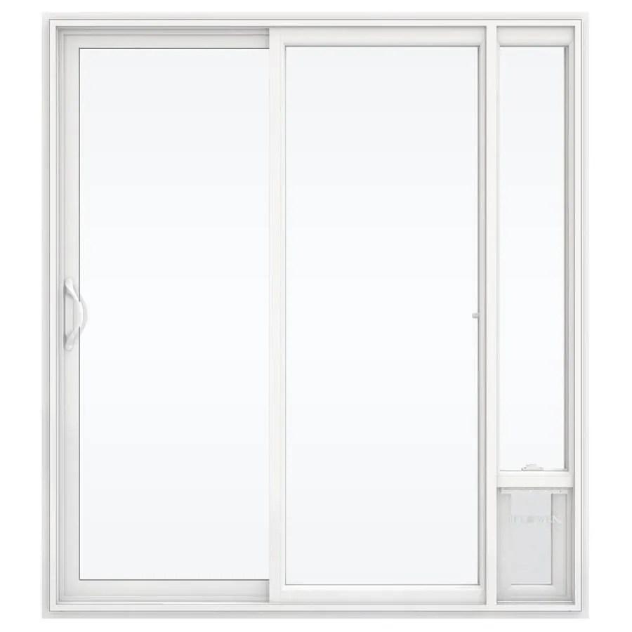jeld wen 72 in x 80 in clear glass white vinyl left hand sliding double door sliding patio door with screen and pet door