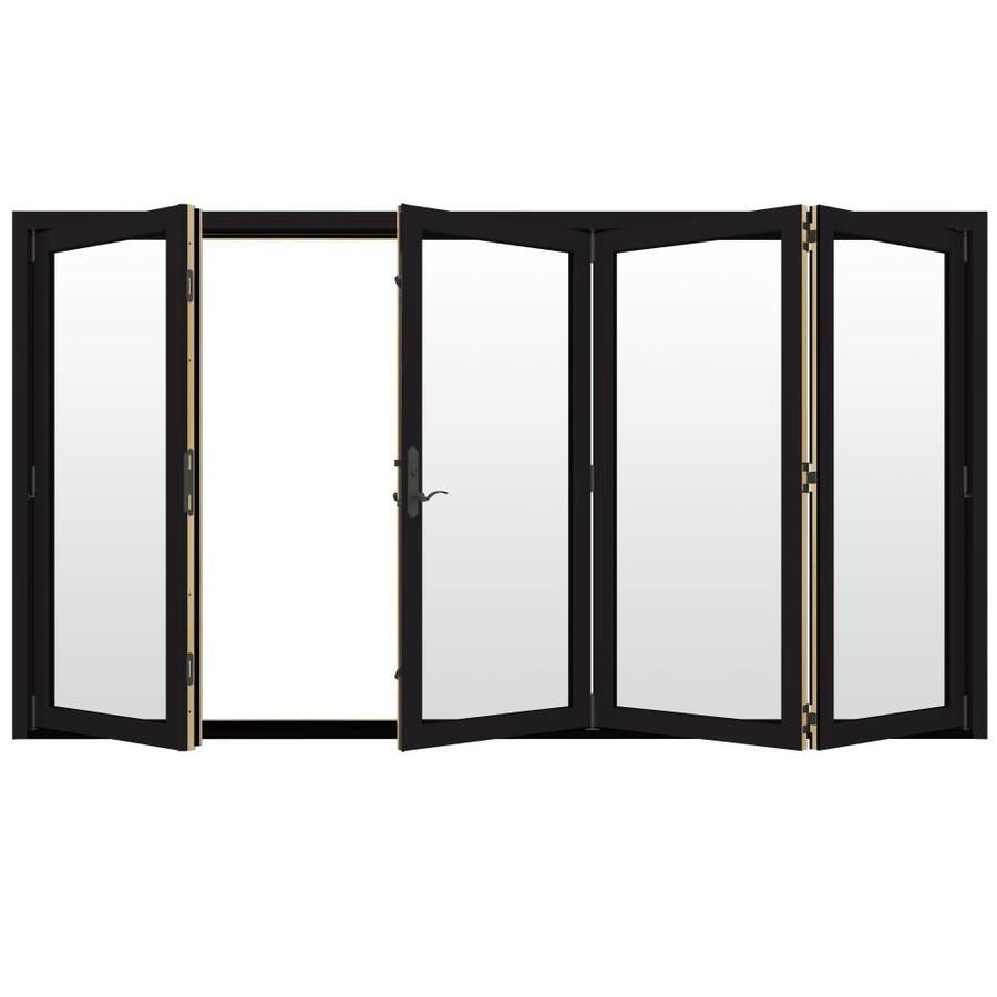 jeld wen 124 in x 96 in clear glass black clad wood right hand outswing folding patio door lowes com