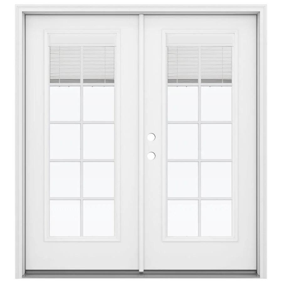 jeld wen 72 in x 80 in blinds and grilles between the glass primed steel right hand inswing double door french patio door