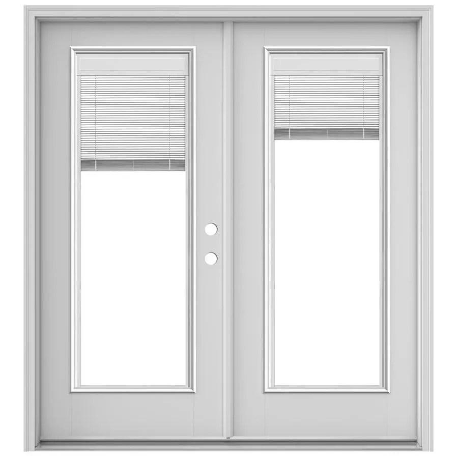jeld wen 72 in x 80 in blinds between the glass primed fiberglass left hand inswing double door french patio door lowes com