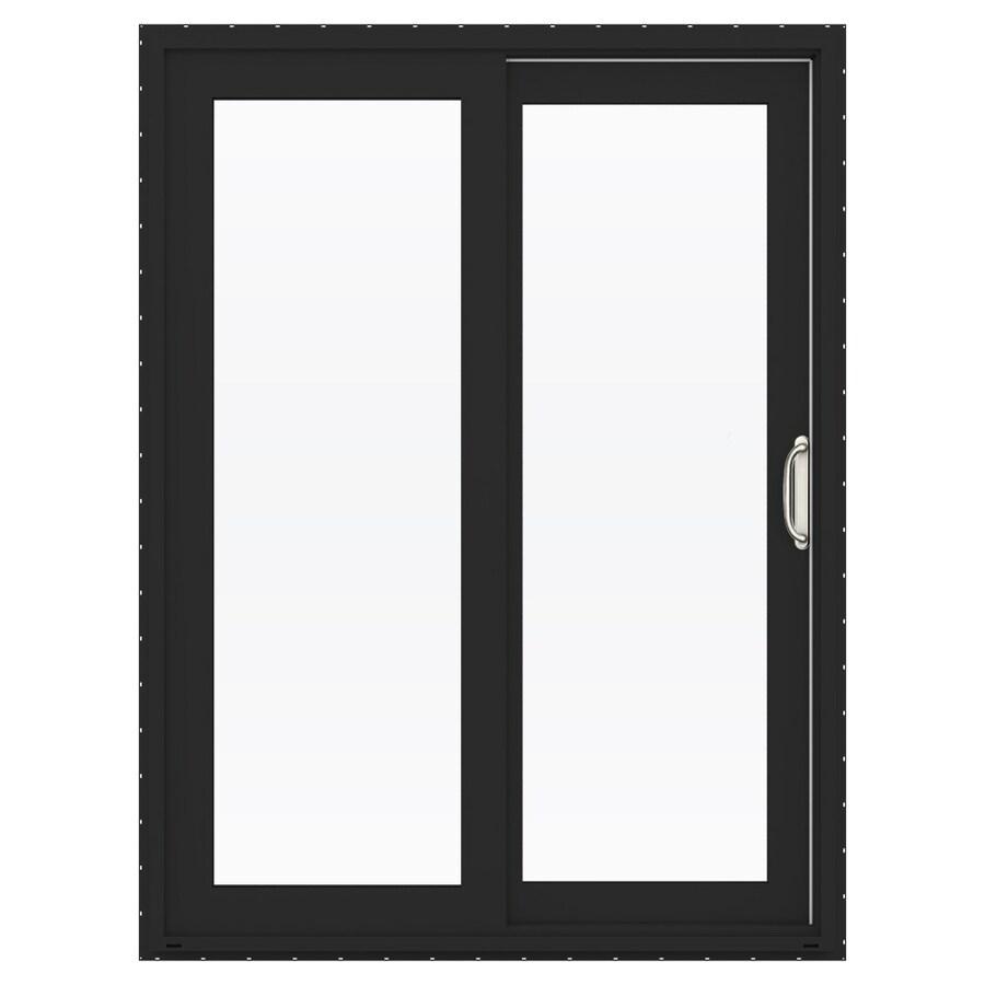 jeld wen finishield v 4500 60 in x 80 in clear glass bronze vinyl right hand double door sliding patio door with screen