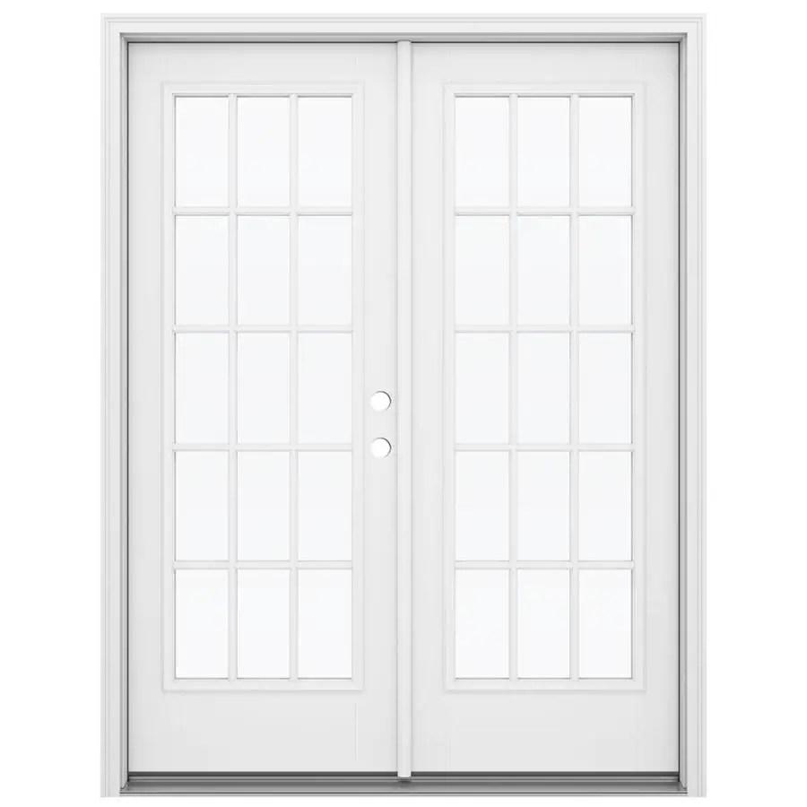 jeld wen 60 in x 80 in external grilles primed fiberglass left hand outswing double door french patio door